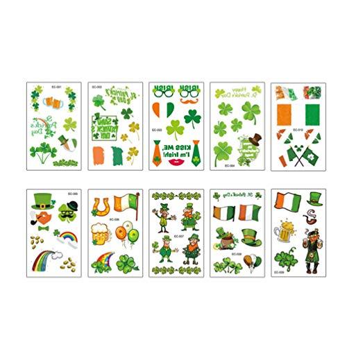 Amosfun 10 Fogli Adesivi per Tatuaggi Temporanei Quadrifoglio Quadrifoglio per St. Patricks Day Trifoglio Irlandese Shamrock Accessori per La Decorazione del Partito