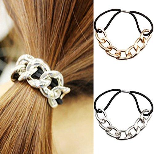 2 elastici per capelli da donna con catena in metallo decorativa, non danneggiano i capelli