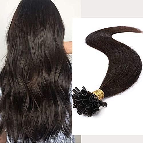 Extension Capelli Veri Cheratina 100 Ciocche 50g Pre Boned Remy Human Hair Naturali Lunghi U Tip Estensioni Lisci, 50cm 2 Marrone Scuro