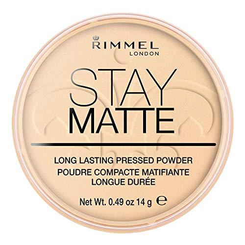 Rimmel London Cipria Compatta Stay Matte, Polvere Opacizzante a Lunga Tenuta per Pelli Grasse e Miste, 001 Transparent, 14 g