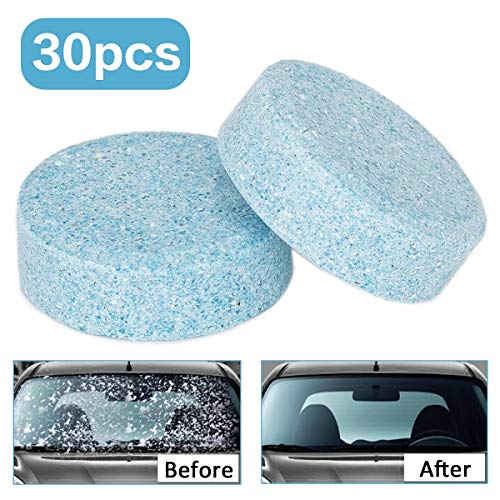 Wemk 30Pz Liquido lavavetri, Pastiglie Effervescenti, per la Pulizia del Parabrezza Auto, Detergente per vetri, Economico e Rispetta l'ambiente