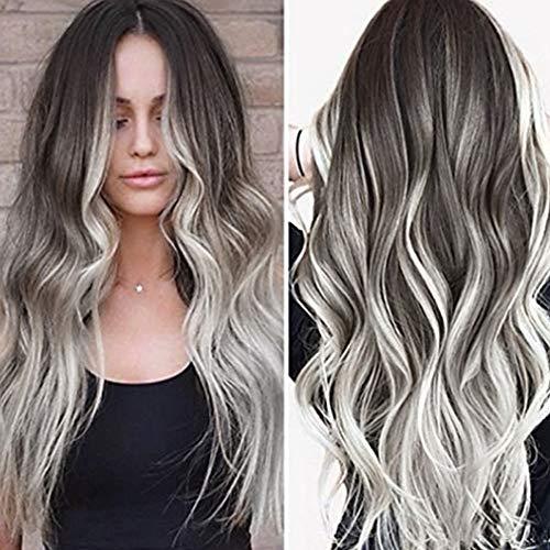 ATAYOU® Parrucca Ombre lunga grigio argento da donna Parrucca sintetica ondulata lunga resistente al calore per la festa di Halloween