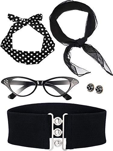Zhanmai Set di Accessori per Costumi Anni '50 Include Sciarpa Fascia Orecchini da Gatto Occhiali da Vista Cinturino per Donne Ragazze Festa Fornitura (Noir)