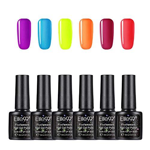 Elite99 Smalto per Unghie Set per manicure in Fluorescente Neon Luminoso Nail Soak off UV LED Romantico Gel Semipermanente per Unghie Manicure Arte Set Kit da10ml 6pzs YG004