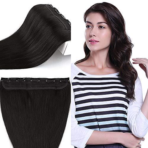 Elailite Extension Capelli Veri Clip Fascia Unica 100% Remy Human Hair Naturali Lisci 55g - Ciocca Larga 22cm Lunga 55cm #1B Nero Naturale