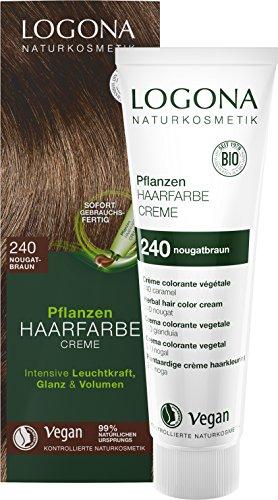 LOGONA - Crema colorante per capelli naturale per piante, 240, marrone nocciolo, marrone naturale, con henna, crema colorante per capelli scuri, 150 ml