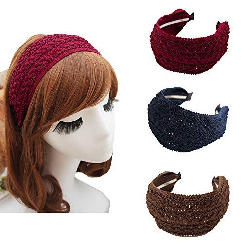 KizBruo 3PCs Boho Fasce larghe dure, Fascia per capelli fatta a mano vintage di moda Tessuto retrò Fascia in tessuto a maglia Accessori per capelli per donna ragazza