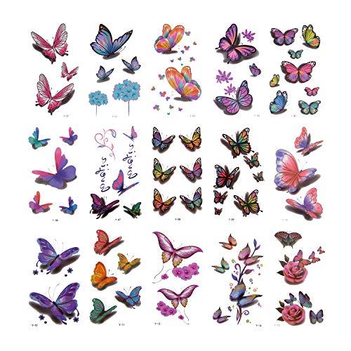 AIEX Tatuaggi Temporanei Farfalla 30 Pezzi 140 Tatuaggi Fiori Vari Stili Farfalla Adesivi Tatuaggi 3D Impermeabili per Bomboniere Clienti Giornalieri