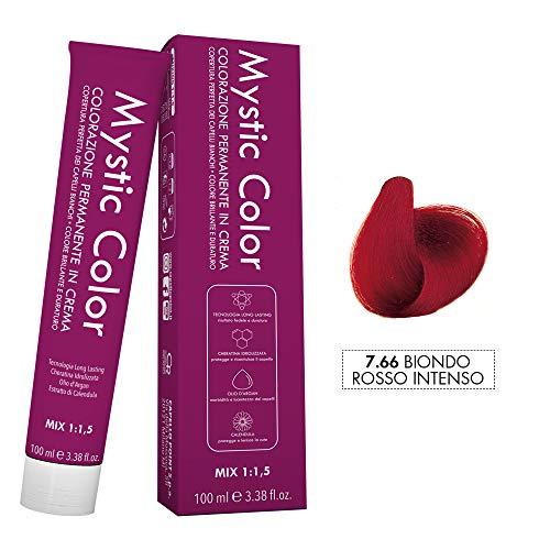Mystic Color - Colore Biondo Rosso Intenso 7.66 - Tinta per Capelli - Colorazione Professionale in Crema a Lunga Durata - Con Cheratina Idrolizzata, Olio di Argan e Calendula - 100 ml