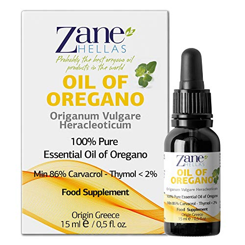 Zane Hellas 100% Olio di origano non diluito.Puro Olio Essenziale Greco di Origano .86% Carvacrolo Min.129mg Carvacrolo per porzione.Probabilmente il miglior olio di origano del mondo.15 ml