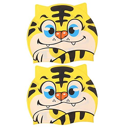 Abaodam 2Pcs Bambini Protezioni di Nuotata Tiger a Forma di Tappi di Nuoto in Silicone Cuffia Impermeabile Elastico Cappello di Nuoto per Le Ragazze dei Ragazzi