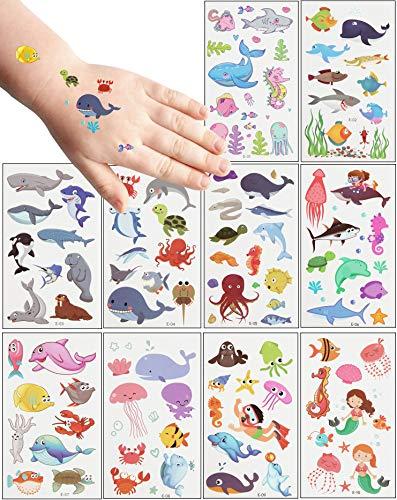 MEIXI 20 Fogli Tatuaggi Temporanei Bambini,Tema Oceano Tatuaggi per Bambini Delicato sulla Pelle,Impermeabile Tatuaggi Finti per Ragazze Ragazzi,Tatuaggio Temporaneo per Feste di Compleanno