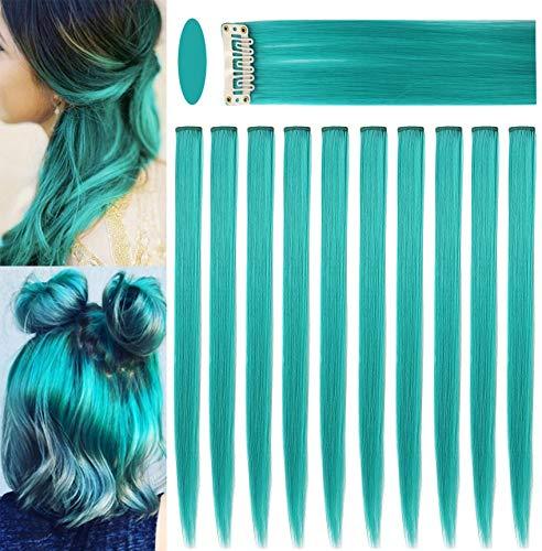 ECOCHARMS 10PCS 21''Teal Extensions Clip nelle estensioni dei capelli colorati per ragazze Posticci colorati Punti salienti del partito Dritto sintetico multicolore Parrucca per bambini