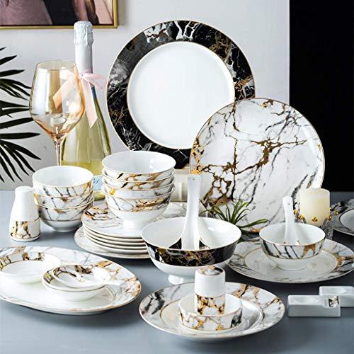 HKX Servizio da tavola di Fascia Alta, Servizio da tavola in Ceramica, Servizio da tavola con Struttura in Marmo da 52 Pezzi  Piatto/Ciotola/pentola per zuppa - Set di Combinazione di Porcellana Fin