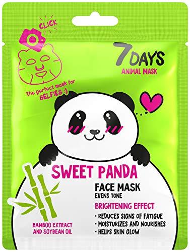 7DAYS Animal Masks Series 1 Fogli di Animale Maschera Luminosa Panda Idratata