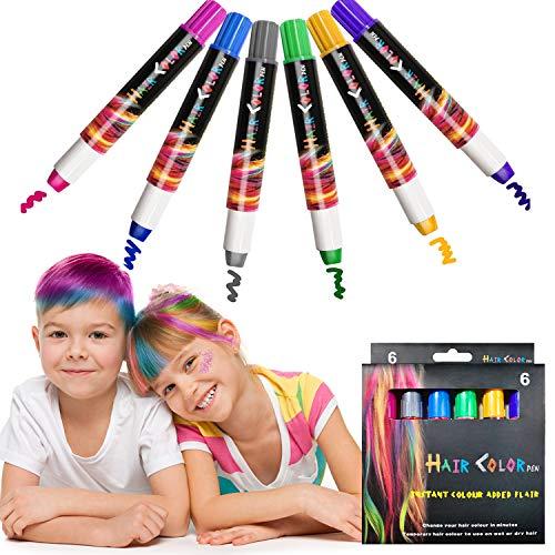 EBANKU Capelli Gesso,6 Colori Lavabile Non Tossico Colori Temporanei Capelli Bambini Regalo Ragazza per Feste Natale Halloween