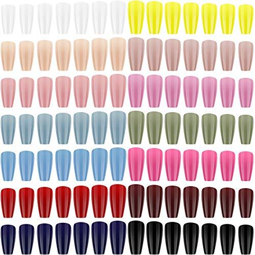 672 Unghie da Premere Lungo Unghie Finte Lucide della Bara Ballerina Unghie Finte a Copertura Totale Tinta Unita Unghie Finte in Gel Set per Donna Decorazioni, 14 Colori (Motivo Fresco)