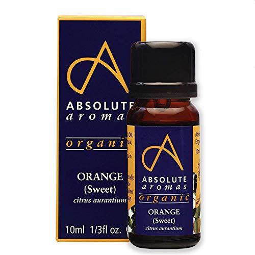Absolute Aromas Olio Essenziale di Arancia Biologico 10 ml - 100% Puro, Naturale, Non Diluito, Vegano e Cruelty Free - Per Uso in Diffusori e Miscele per Aromaterapia