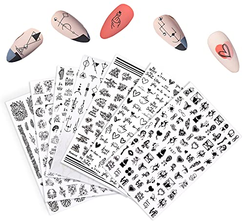 ASFINS Unghie Adesivi Decalcomanie, Adesivi Unghie Nail Art Stickers Unghie Nail Art, Autoadesivi Unghie per Decorazione Unghie Nail Art Fai da Te, 7 Fogli