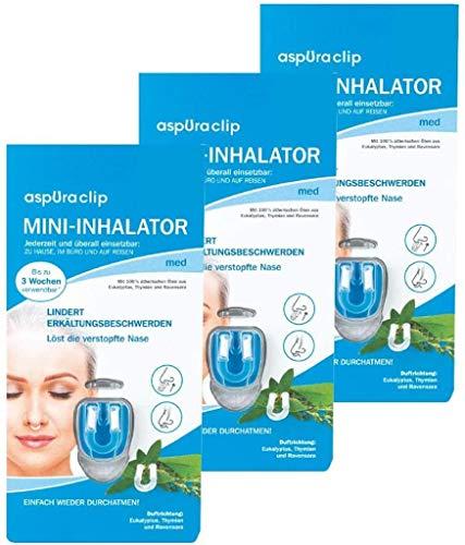aspUraclip Mini inalatore med (Confezione da 3) | Primo mini inalatore per il naso | Con 100% oli biologici di eucalipto, timico e Ravensara | allevia il dolore al raffreddore e scioglie le mucose
