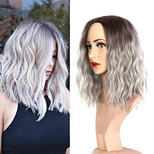Ruisi Parrucca da donna con capelli ricci, resistente al calore, in fibra chimica sintetica, colore grigio sfumato