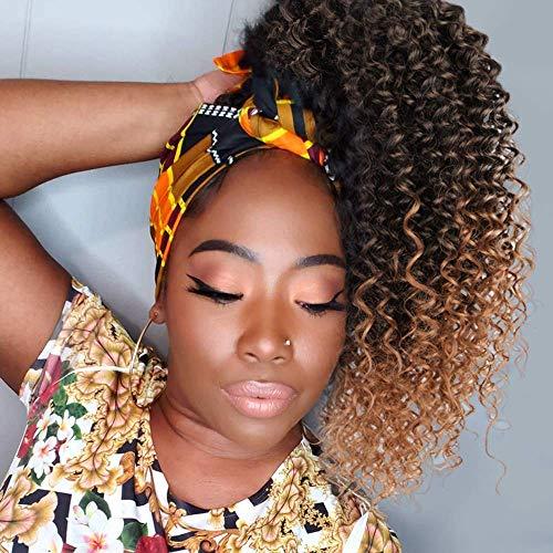 ColorfulPanda Afro Kinky coda di cavallo ricci per donne nere biondo ombre marrone coulisse coda di cavallo sintetico Extension capelli ricci coda di cavallo con clip in acconciatura