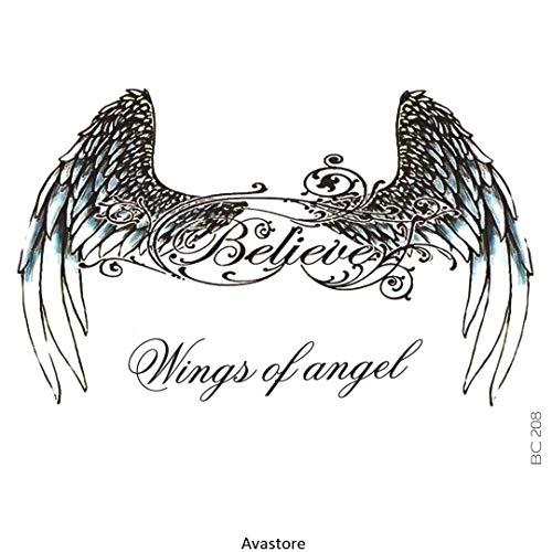 AVASTORE - Tatuaggio temporaneo da donna, con ali d'angelo