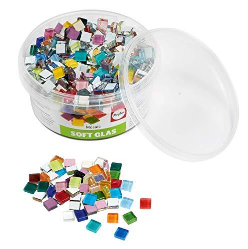 Rayher Set tessere per mosaico, tasselli in vetro morbido, piastrelle ideali per decorazioni e fai da te, 1x1 cm, ca. 515 pz, colori assortiti.