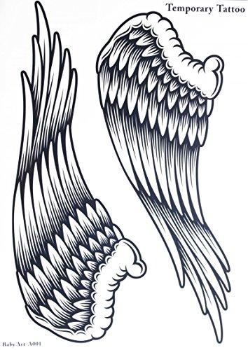 GGSELL GGSELL Tatuaggio da 21,5 cm x 30,5 cm (8,46' x 12'), atossico e impermeabile, vendita calda, alla moda, con ali d'angelo, temporaneo, per donne