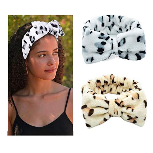 Yean - Fasce elastiche per capelli, con fiocco, in pile, colore giallo leopardato, per trucco, doccia, spa, massaggi, yoga, sport, confezione da 2