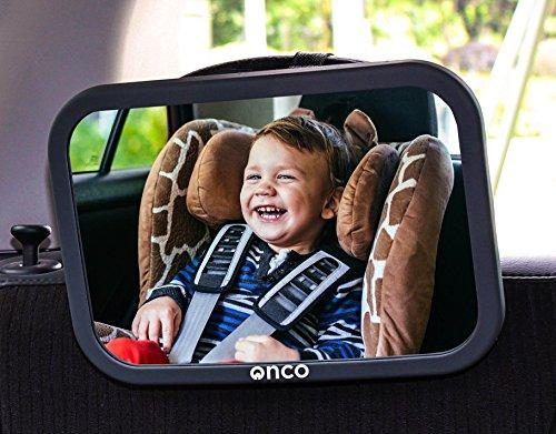 Onco Specchietto retrovisore bambini - 100% infrangibile - Guida in sicurezza e monitora il tuo Bambino - Accessorio auto per i neogenitori - Vincitore del MadeForMums Awards