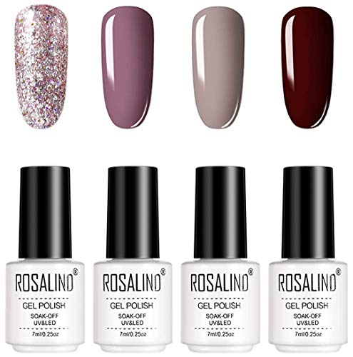 ROSALIND Glitter Tinta Unita Smalto Semipermanente 4 Colori Set Smalti Semipermanenti Per Unghie Soak off UV Gel Ricostruzione 7ml