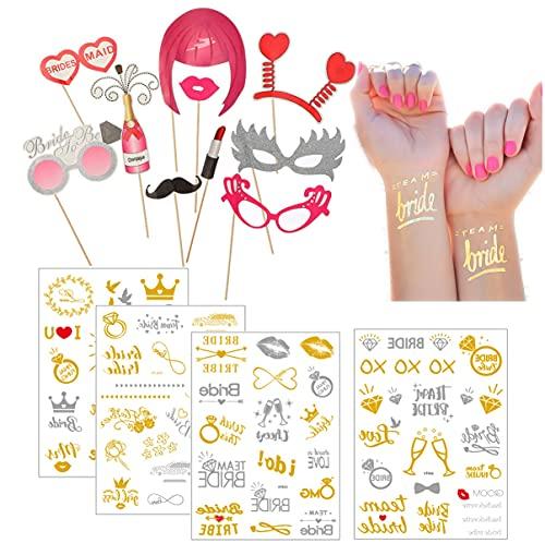 MKISHINE Tatuaggi per Addio al Nubilato+10 Pezzi Photo Booth Props,Tatuaggi Belli e Resistenti, Si Rimuovono con Facilità, Ideale per Feste e Foto,Addio al Nubilato Gadget