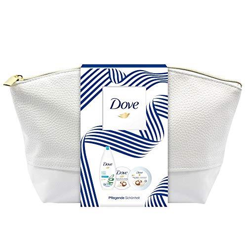 Dove Set regalo per la bellezza della pelle liscia e setosa con gel doccia, peeling in crema per il corpo e yogurt in una borsa da toilette (250 ml + 225 ml + 250 ml)