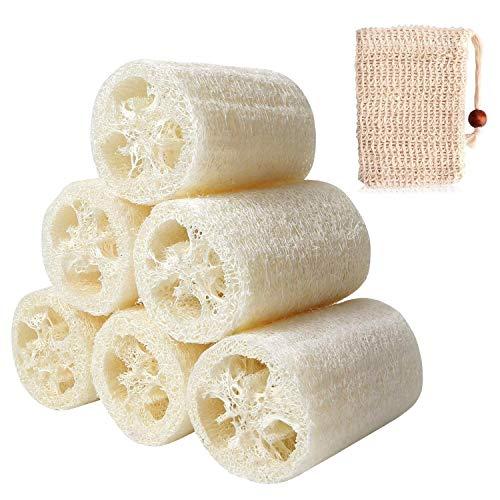 6 pezzi di spugna naturale di luffa, 1 pezzo di spugna sisal per bagno e doccia
