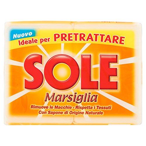 Sole Marsiglia, Ottimo per Pretrattare, Detergente per Bucato a Mano, 2 x 250g