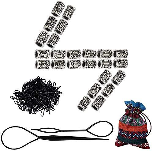 FOGAWA 24Pcs Perline di Rune Vichinghe Perline Barba Stile Nordico per Capelli Dreadlocks Collane Bracciali Fai da Te con 100 Elastici per Capelli 1 Borsa di Stoccaggio Unisex