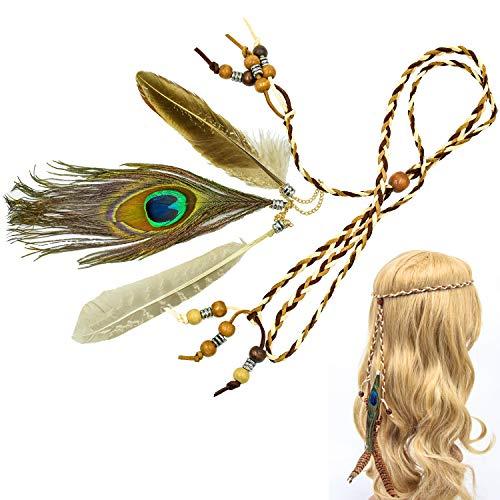 cococity Fascia per Capelli Hippie per Donna, Copricapo in Stile Boemia/Indiano con Piume e Perle Accessori per Decorazione dei Capelli (Boemia)