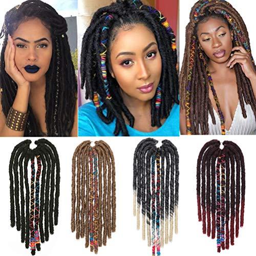Hair Dreadlocks Extension 10pcs/pack 45cm Handmade Crochet Intrecciatura Decorazione Estensioni dei Capelli Sintetici Accessori per Uomo e Donna Da nero a rosso vino