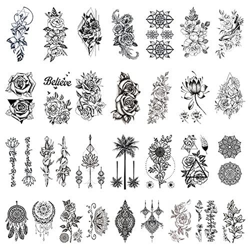 30 fogli tatuaggi temporanei fiori in bianco e nero adesivi tatuaggio impermeabile falso body art braccio schizzo per donne ragazze bomboniere