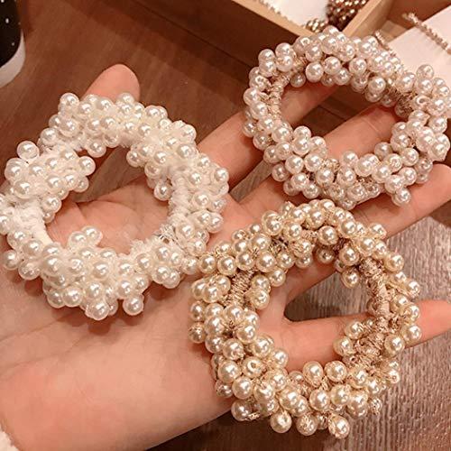 Yean, elastici per capelli con perle, rosa per donne e ragazze (3 pezzi) (Capelli Perlati Scrunchy)