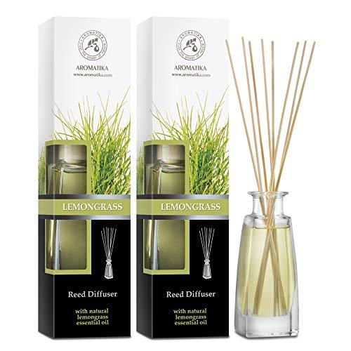 Diffusore a Lamella Fragranza Set Lemongrass - 2x100ml - Diffusore con Olio Essenziale Lemon Grass - Bastoncini Profumati - Profumatori Ambiente - Aroma Fresco - Diffusore di Aromi