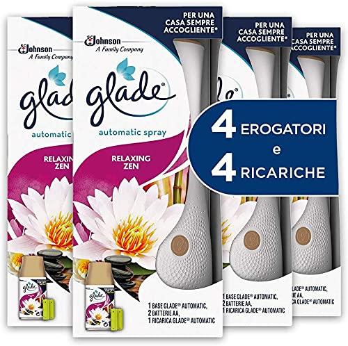 Glade Automatic Spray Profumatore per Ambienti Base con Ricarica, Fragranza Relaxing Zen, 4 Erogatore + 4 Ricarica 269 ml