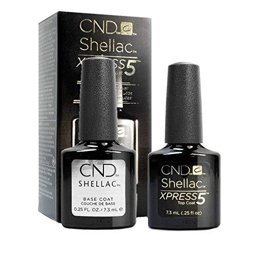 CND Shellac Xpress5 –top coat e base per smalto CND Shellac (7.3ml/flacone)–smalto gel professionale