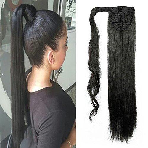 Elailite 23' Coda Capelli Extension di Cavallo Clip in Hair Lisci Parrucchino Ponytail Wrap Around Estensioni 58cm-120g, 1B# Nero Naturale