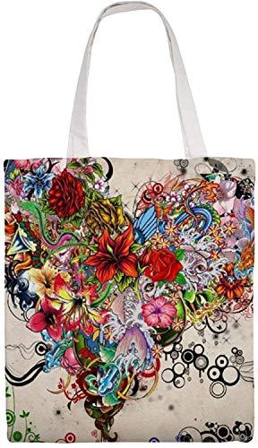 MODORSAN Bellissima borsa a tracolla in tela stampata a forma di cuore con tatuaggio floreale, borse in stoffa riutilizzabili per la spesa, borse con stampa fronte-retro