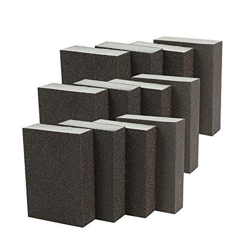Bestechno - Spugna abrasiva (12 pezzi) Assortimento di 4 tipi di grado (grossolana, media, fine, super-fine) lavabili, blocchi abrasivi e kit riutilizzabile (spugna abrasiva)