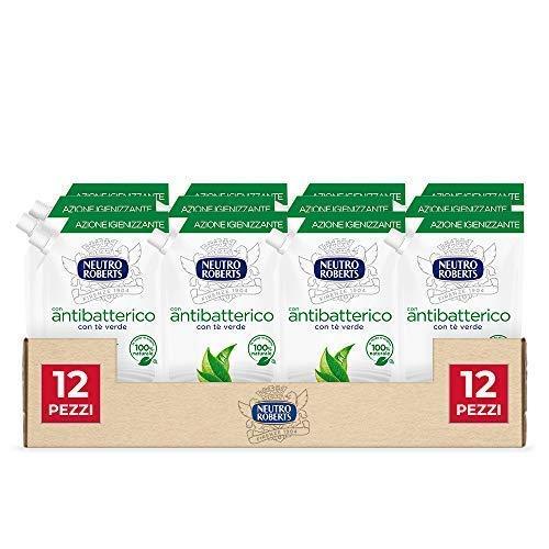 Neutro Roberts, Sapone Liquido Ecopouch Antibatterico, Ecoricarica, Pelle Sana e Protetta, Té Verde - 12 Confezioni da 400 ml