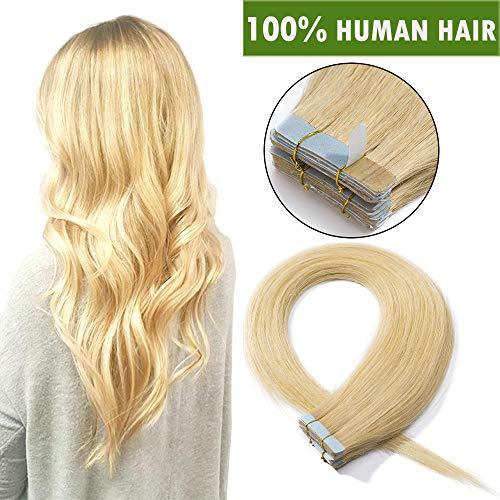 SEGO Extension Biadesive Capelli Veri Tape Extensions Adesive con Biadesivo 20 Fasce 100% Remy Human Hair Biondi Umani Lisci 50g/Pack senza Clip (40cm, Biondo Naturale)