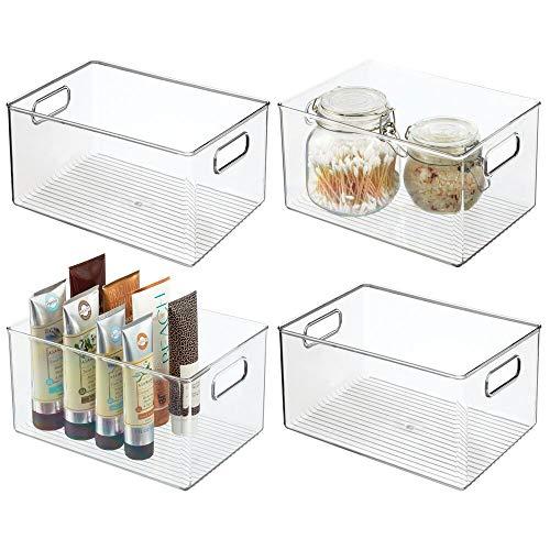 mDesign Set da 4 Portaoggetti bagno con manici – Portatrucchi trasparente ideale per conservare cosmetici e utensili bagno – Capiente organizer trucchi in resistente plastica – trasparente